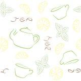 Nahtloses Muster des Tees mit Kessel, Schalen, Zitrone und Minze stock abbildung