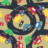 Nahtloses Muster des Transportes und des Verkehrs Stockfotos