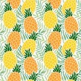 Nahtloses Muster des tropischen Sommers Ananasfrucht, Palmblätter Flaches Design Hawaiis Vektor Lizenzfreie Stockfotografie