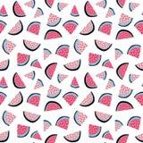 Nahtloses Muster des tropischen Vektors des Sommers der Wassermelone zwängt lizenzfreie abbildung