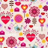 Nahtloses Muster des Valentinstags Stockbilder