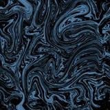 Nahtloses Muster des Vektormarmors Blaues Marmorierungmuster auf dunklem Hintergrund vektor abbildung