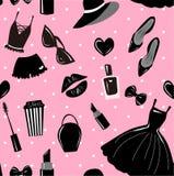 Nahtloses Muster des Vektors, Beschaffenheit, Druck mit Mädchen stilvoller Zusatz, Kosmetik, Frauenmaterial auf dem rosa Hintergr lizenzfreie abbildung