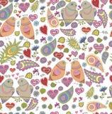 Nahtloses Muster des Vektors in der romantischen Art Stockfoto