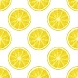 Nahtloses Muster des Vektors der Zitronenscheibe Zitrusfrucht backgro Stockfotos