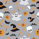 Nahtloses Muster des Vektors für Halloween Kürbis, Geist, Schläger, Süßigkeit und andere Einzelteile auf Thema Helle Karikatur Lizenzfreies Stockfoto