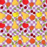 Nahtloses Muster des Vektors - frische Sommerfrüchte Stockbilder