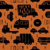 Nahtloses Muster des Vektors mit Autos und LKWs Lizenzfreies Stockfoto