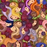 Nahtloses Muster des Vektors mit Blumen und Frauen lizenzfreie abbildung