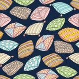 Nahtloses Muster des Vektors mit bunten Kissen Beschaffenheit und Tapete Schablone für die Werbung, Gewebe, verpackend Stockbild