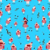 Nahtloses Muster des Vektors mit den singenden Hühnern Stockbilder