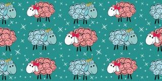 Nahtloses Muster des Vektors mit einem Schaf Abbildung eines Karikaturschafs Drucke für Gewebe Lizenzfreies Stockbild