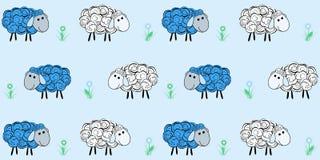 Nahtloses Muster des Vektors mit einem Schaf Abbildung eines Karikaturschafs Drucke für Gewebe Lizenzfreie Stockfotos