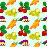 Nahtloses Muster des Vektors mit Elementen des Gemüses: Aubergine, rote Rüben, Karotten und Pilze Stockfoto