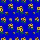 Nahtloses Muster des Vektors mit Elementen von Sonnenblumen Stockbild