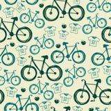 Nahtloses Muster des Vektors mit Fahrrädern Stockbild