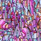 Nahtloses Muster des Vektors mit fiktiver gotischer Stadt stockfoto