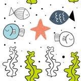 Nahtloses Muster des Vektors mit Fischen Skandinavische Motive Babydruck vektor abbildung