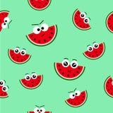 Nahtloses Muster des Vektors mit frischem Sommer WassermeloneEmoticon, endlose Beschaffenheit für Netz, Abdeckungen, Fahnen, Deko lizenzfreie abbildung