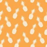Nahtloses Muster des Vektors mit gegessener gezeichneter Ananas Lizenzfreies Stockfoto