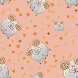 Nahtloses Muster des Vektors mit gehörnten Schafen der netten Karikatur Lustige Tiere Beschaffenheit auf einem rosa Hintergrund S stock abbildung