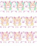 Nahtloses Muster des Vektors mit geometrischen Hamstern auf einem Farbleisten vektor abbildung