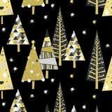 Nahtloses Muster des Vektors mit goldenen gezierten Bäumen und Sternen stock abbildung