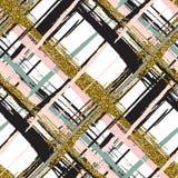 Nahtloses Muster des Vektors mit Goldfunkeln maserte Bürstenanschläge und -streifen Stockfotografie
