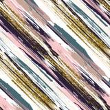 Nahtloses Muster des Vektors mit Goldfunkeln maserte Bürstenanschläge und -streifen Lizenzfreie Stockbilder