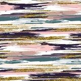 Nahtloses Muster des Vektors mit Goldfunkeln maserte Bürstenanschläge und -streifen Stockfotos