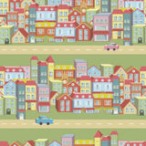 Nahtloses Muster des Vektors mit Häusern und Straßen Stockbild