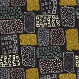 Nahtloses Muster des Vektors mit Hand gezeichnetem Goldfunkeln maserte Bürstenanschläge Stockfotos