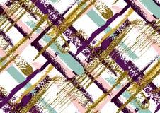 Nahtloses Muster des Vektors mit Hand gezeichnetem Goldfunkeln maserte Bürstenanschläge Lizenzfreies Stockfoto