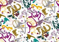 Nahtloses Muster des Vektors mit Hand gezeichneten Bürstenanschlägen und -streifen handgemalt Lizenzfreies Stockfoto