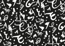 Nahtloses Muster des Vektors mit Hand gezeichneten Bürstenanschlägen und -streifen handgemalt Schwarzweiss-Farben Lizenzfreies Stockfoto