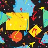 Nahtloses Muster des Vektors mit Hand gezeichneten Pfeilen Bunte geometrische Elemente auf schwarzem Hintergrund Lizenzfreie Stockfotos