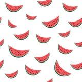 Nahtloses Muster des Vektors mit Hand gezeichneter Wassermelone Es kann für Leistung der Planungsarbeit notwendig sein Stockfotografie