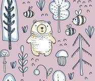 Nahtloses Muster des Vektors mit Handgezogenem Bären im Wald lizenzfreie abbildung