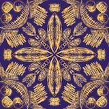 Nahtloses Muster des Vektors mit Handgezogenen symmetrischen dekorativen Stammes- Elementen vektor abbildung