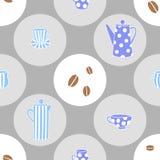 Nahtloses Muster des Vektors mit Kaffeekannen und Schalen stock abbildung