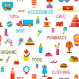 Nahtloses Muster des Vektors mit Konsumgütern Stockfotos