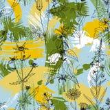 Nahtloses Muster des Vektors mit Kräutern und Blumen Lizenzfreie Stockbilder
