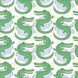 Nahtloses Muster des Vektors mit Krokodilen Von Hand gezeichnete Winterillustration lizenzfreie abbildung