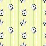 Nahtloses Muster des Vektors mit nettem kleinem Panda vektor abbildung