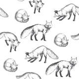 Nahtloses Muster des Vektors mit netten Tiercharakteren Hand gezeichnet Lizenzfreie Stockfotografie