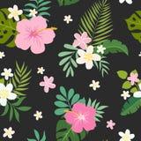 Nahtloses Muster des Vektors mit Palmblättern und Blumen Lizenzfreie Stockbilder