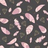 Nahtloses Muster des Vektors mit rosa Federn und Goldkonturen von Kristallen, Diamanten Weicher farbiger Druck Stilvolles, modisc vektor abbildung