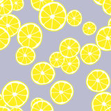 Nahtloses Muster des Vektors mit Scheiben der Zitrone Heller Hintergrund in den gelben Farben Abstrakte Hintergrund-Abschluss-obe Lizenzfreies Stockbild