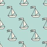 Nahtloses Muster des Vektors mit Schiffen Marine- und Seehintergründe Hintergrundauszug, Abstraktion Nette Vögel eingestellt Lizenzfreies Stockfoto