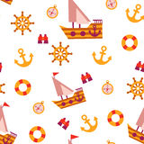 Nahtloses Muster des Vektors mit Seereisenelementen Lizenzfreie Stockbilder